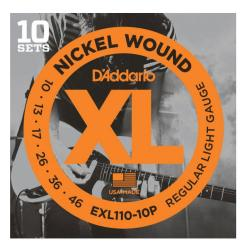10 комплектов  струн для электрогитары, Regular Light, 10-46 D'ADDARIO EXL110-10P