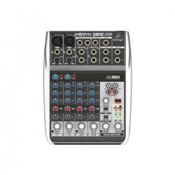 Микшер, 2 моновхода, 2 стерео, 1 AUX-шина, USB интерфейс 2-in/2-out BEHRINGER Q802USB