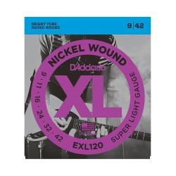Cтруны для электрогитары, Super Light, никель, 9-42 D'ADDARIO EXL120