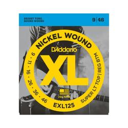 Cтруны для электрогитары Super Light/ Regular, никель, 9-46 D'ADDARIO EXL-125